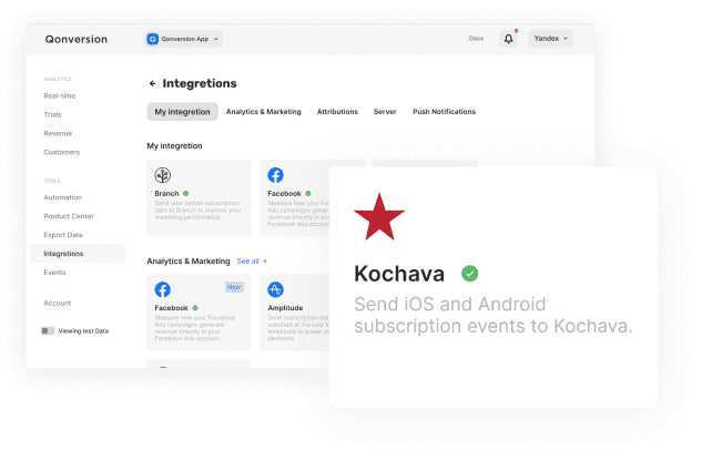 Add in-app purchase and subscription data to you Kochava account to get more detaild on you ad campaigns